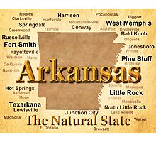 Aged Arkansas State Pride Map Silhouette  Photographic Print