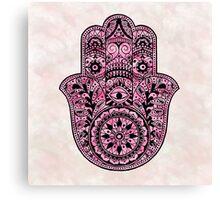 Watercolor Pink Hamsa Canvas Print