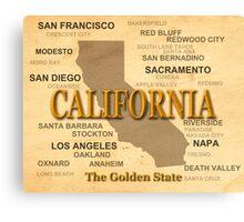 antique California State Pride Map  Canvas Print