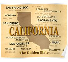 antique California State Pride Map  Poster