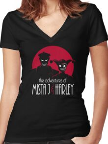 The Adventures of Mista J and Harley Women's Fitted V-Neck T-Shirt