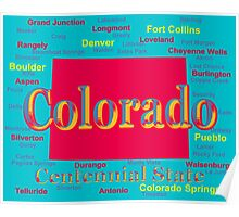 Colorful Colorado State Pride Map Silhouette  Poster