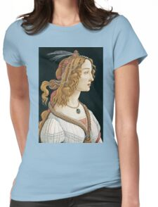 Botticelli -  Idealized Portrait of a Lady (Portrait of Simonetta Vespucci as Nymph) 1480  Womens Fitted T-Shirt
