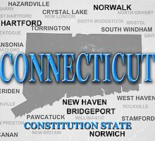 Aged Connecticut State Pride Map by KWJphotoart