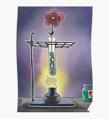 Bunsen Burner Flower Pot Poster