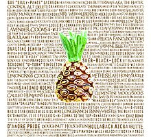 Psych Burton Guster Nicknames - Television Show Pineapple Room Decorative TV Pop Culture Humor Lime Neon Brown Photographic Print