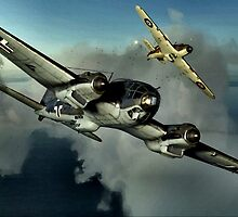 Hurricane / HE 111 World War 2 Art - Digital Painting by verypeculiar