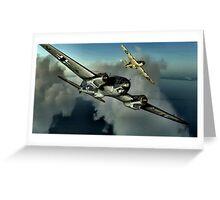 Hurricane / HE 111 World War 2 Art - Digital Painting Greeting Card