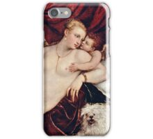 Tiziano Vecellio, Titian - Venus with the Organ Player (around 1550)  iPhone Case/Skin