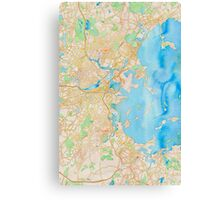 Water color map of Boston bay Canvas Print