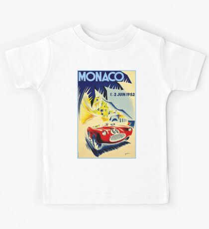 MONACO GRAND PRIX; Vintage Auto Racing Print Kids Tee