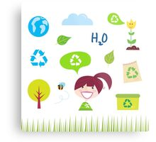 Recycle, nature and ecology icons isolated on white background Metal Print