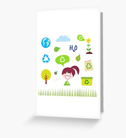 Recycle, nature and ecology icons isolated on white background Greeting Card