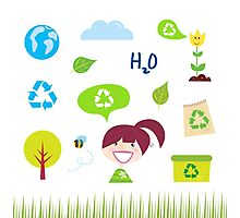 Recycle, nature and ecology icons isolated on white background Photographic Print