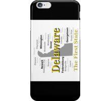 Delaware State Pride Map Silhouette  iPhone Case/Skin
