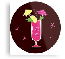 Retro-stylized cocktail illustration: Bloody Mary Metal Print