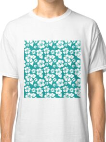 Tropical White Hibiscus Blooms on Turquoise Stripes Classic T-Shirt