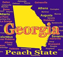 Colorful Georgia State Pride Map Silhouette  by KWJphotoart