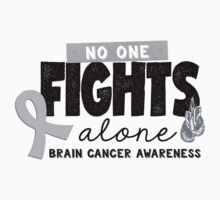 No One Fights Alone - Brain Cancer Awareness Kids Tee