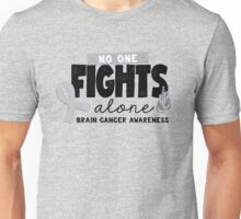 No One Fights Alone - Brain Cancer Awareness Unisex T-Shirt