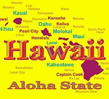 Colorful Hawaii State Pride Map Silhouette  by KWJphotoart