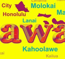 Colorful Hawaii State Pride Map Silhouette  Sticker