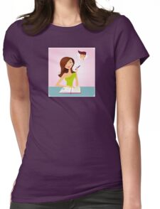 Young student girl is daydreaming while studying Womens Fitted T-Shirt