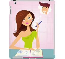 Young student girl is daydreaming while studying iPad Case/Skin