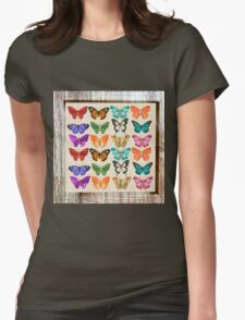 Butterflies,water color,rustic,vintage,shabby chic,elegant,country chic, Womens Fitted T-Shirt