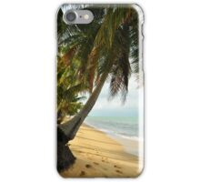 tropical beach with coconut palm trees iPhone Case/Skin
