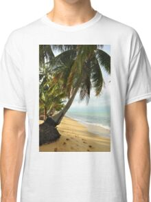 tropical beach with coconut palm trees Classic T-Shirt