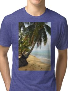tropical beach with coconut palm trees Tri-blend T-Shirt