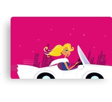 Girly Chick Driver in a Convertible Car Canvas Print