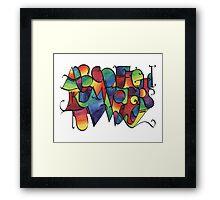 Rainbow calligraphy alphabet Framed Print