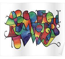 Rainbow calligraphy alphabet Poster