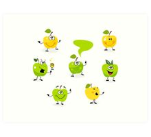 Funny green Apple fruit characters Art Print