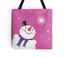 Happy snowman looking at the snow and christmas star Tote Bag