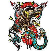 Traditional Eagle VS Snake Tattoo Design Photographic Print