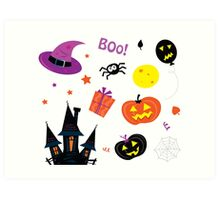 Halloween icons set isolated on white Art Print