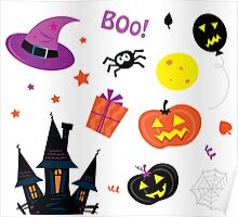 Halloween icons set isolated on white Poster