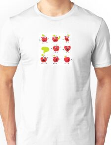 Funny red Apple fruit characters isolated on white background Unisex T-Shirt