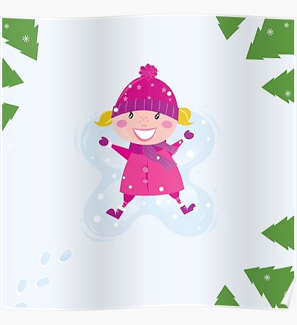 Happy blond girl making angel in snow Poster