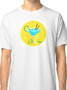 Blue Margarita: Retro cocktail icon on yellow background Classic T-Shirt
