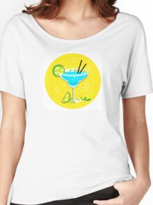 Blue Margarita: Retro cocktail icon on yellow background Women's Relaxed Fit T-Shirt