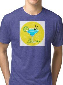 Blue Margarita: Retro cocktail icon on yellow background Tri-blend T-Shirt