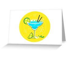 Blue Margarita: Retro cocktail icon on yellow background Greeting Card