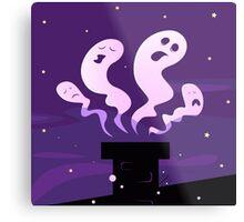 Halloween ghosts flying around chimney isolated on purple Metal Print