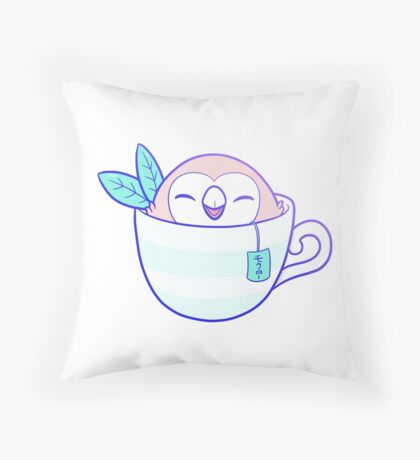 Rowlet Tea モクロー // White Throw Pillow