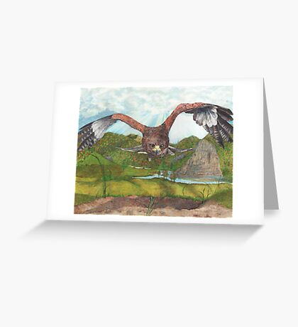 Harbinger's Shadow: The Red Shouldered Hawk Greeting Card