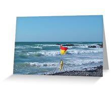 SURFS UP FLAG AT SANDYMOUTH BEACH CORNWALL Greeting Card
